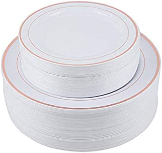 PURUDA 120 PCS / 60 GUEST Wedding Plates, Plates for Wedding, Rose Gold Plates Disposable, Rose Gold Party Plates, Rose Gold Rimmed, Rose Gold Dinnerware, 60 Dinner and 60 Salad Plates