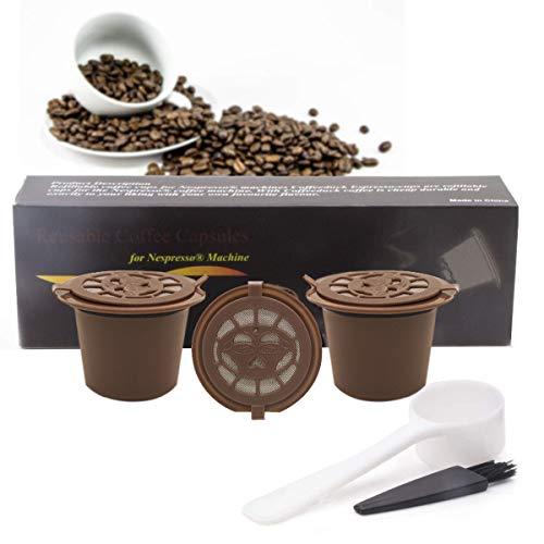 BLS 3 Pack Cápsulas filtros de café Reutilizables Para Nespresso cafetera Accesorios para cafeteras Recargables i cafilas Cuchara de café y Cepillo Color Marrón