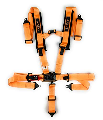 """Aniki High Performance 2"""" 5 Point Universal Racing Seat Latch and Link Harness, 3"""" Wide and 1"""" Thick Shoulder Pad- for Sand Sport Vehicle, Utility Vehicle, Truck, Go Kart, Off Road Vehicle- Orange"""