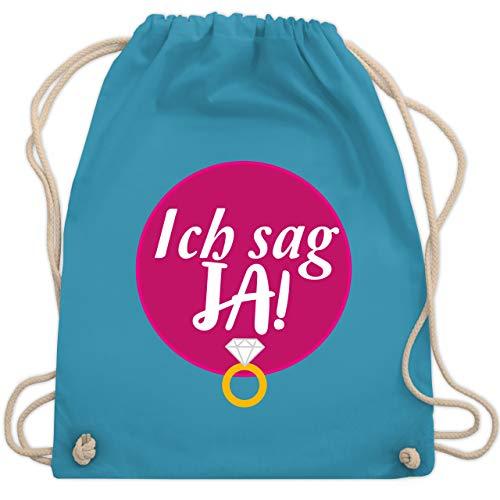 Shirtracer Hochzeit - Ich sag JA! - Unisize - Hellblau - turnbeutel hochzeit - WM110 - Turnbeutel und Stoffbeutel aus Baumwolle