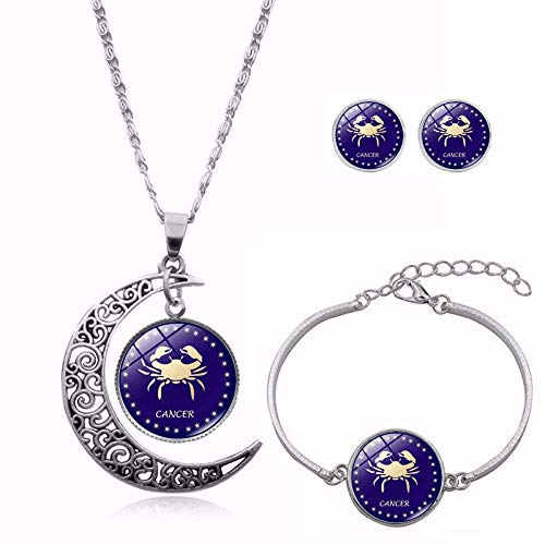 DZX Time Gemstone Jewelry Set,Purple Beautiful Twelve Constellations,Rotating Moon Bracelet Stud Earring Suit European And American Necklace Jewelry Crystal,Fashion Gift