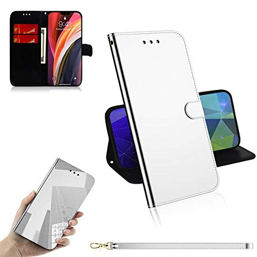 Guran Cover for iPhone 12 Pro Max (6.7') Smartphone Premium PU Mirror Leather Wallet Flip Protective Case Stand Function Magnetic Closure Card Holders Case - Silver
