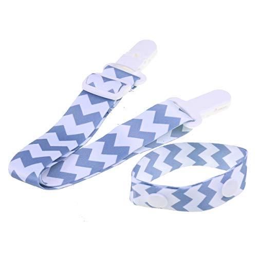 Nursing Bracelet & Nursing Cover Clips with Gray Chevron for Mom Breastfeeding Reminder Bib Clip Hands-Free Shirt Holder