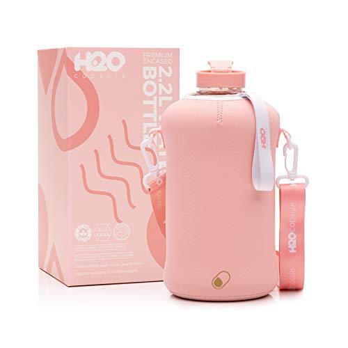 H2O Capsule 2.2L Half Gallon Water Bottle with Storage Sleeve – Tritan BPA Free Large Water Bottle/2.2 Liter (74 Ounce) Big Sports Bottle Jug with Handle (Rose Quartz)