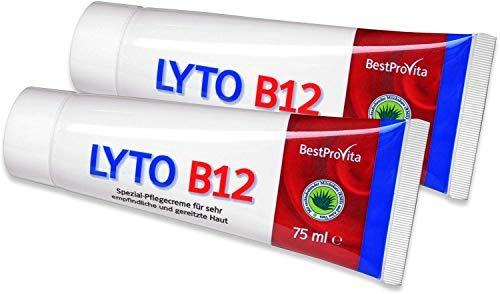 Bestprovita Lyto B12 Pflegecreme 2x 75ml, bei Neurodermitis Juckreiz Schuppenflechte, Creme mit Vitamin B12, Grander-Wasser, ohne Kortison