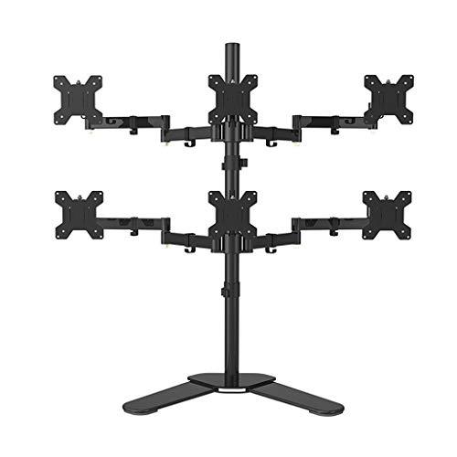 Zes Arm Monitor Stand, 360 ° Schermrotatie hoogte verstelbare Pitch Hoekaanpassing Monitor Desk Mount - Past 17-24