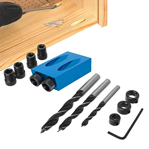 14 Pcs Pocket Hole Jig, 15 Degree Dowel Drill Joinery Kit, 6/8/10mm Drive Adapter for Woodworking Angle Drilling Holes, Carpenters Woodwork Guides Joint Angle Carpentry Locator