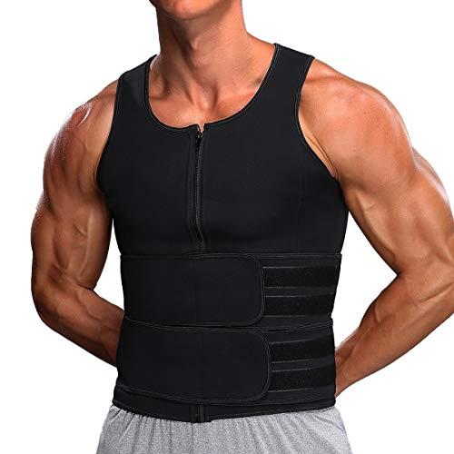 MISS MOLY Men Neoprene Sauna Waist Trainer Trimmer Vest with Adjustable Double Straps, Workout Compression Sauna Suit Sweat Vest Black 2XL