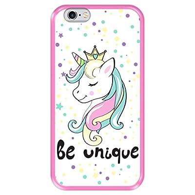 Hapdey Funda Rosa para [ Apple iPhone 6 6S ] diseño [ Unicornio, Arcoiris, Sé Único ] Carcasa Silicona Flexible TPU