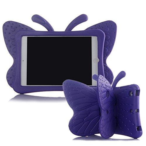 Ipad Mini Case,ER CHEN Kids Light Weight Cute Butterfly Design Shock Proof EVA Foam Series Case for Ipad Mini 1/2/3/4 (Purple)
