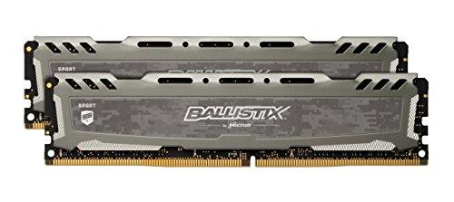 Crucial Ballistix Sport LT BLS2K4G4D240FSB 2400 MHz, DDR4, DRAM, Memoria Gamer Kit para ordenadores de sobremesa, 8 GB (4 GB x 2), CL16 (Gris)