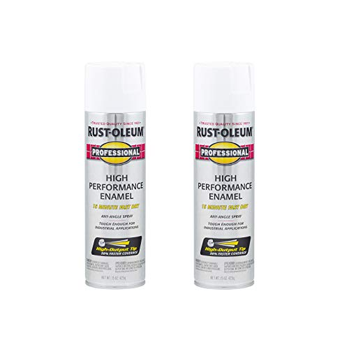 Rust-Oleum 7592838A2 Professional High Performance Enamel Spray Paint, 15 Ounce (Pack of 2), Gloss White, 30 Ounce