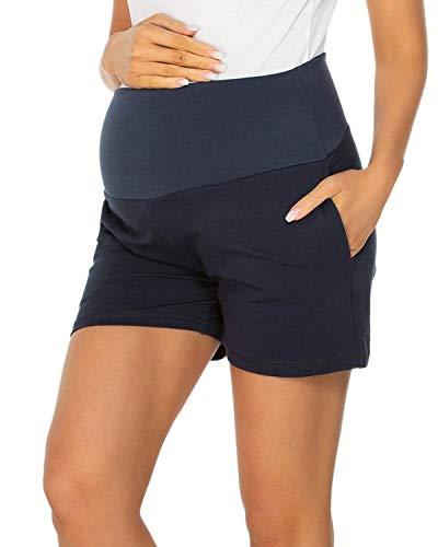 Love2Mi Umstandsshorts Damen Komfortable Kurze Umstandshose für Sommer Navy Blau XL