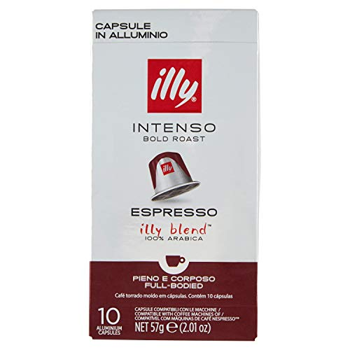 Illy- Intense Coffee Capsules - Compatible with Nespresso - 10 Capsules