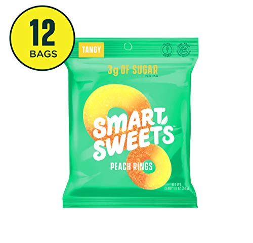 SmartSweets Peach Rings 1.8 Oz Bags (Box Of 12), Candy...