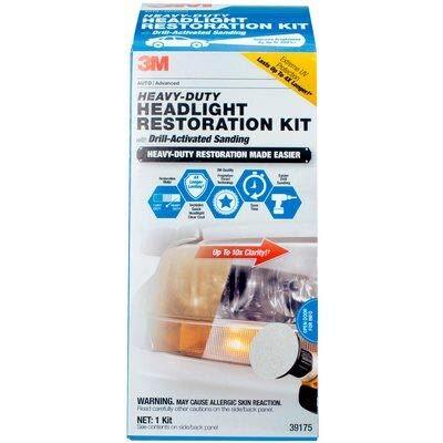 3M Heavy Duty Headlight Restoration Kit with Quick Clear Coat, 39175