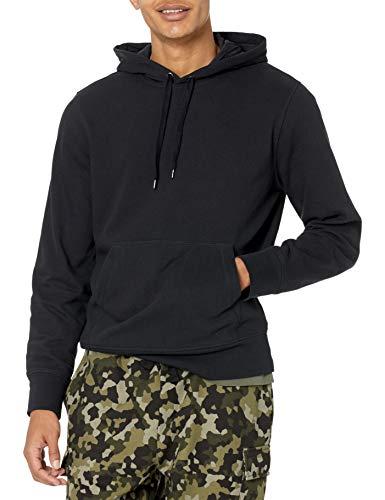 Amazon Essentials Lightweight French Terry Hooded Sweatshirt Felpa con Cappuccio, Nero, L