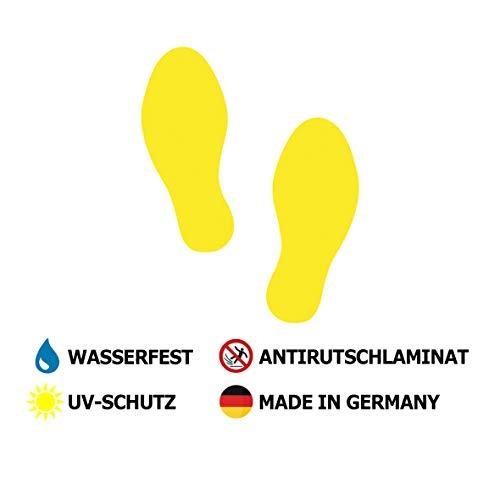 3 Paar Fussbodenaufkleber Füße 23x10cm Gelb