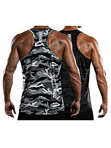 DRSKIN Men's 2 Pack Dry Fit Y-Back Muscle Tank Tops Sleeveless Gym Bodybuilding Training Athletic Workout Cool Shirts (BTF-TA-(MGY,MBB), M)