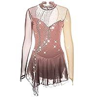 フィギュアスケートドレス女子女子長袖オープンバックカスタムメイドスパンデックスパフォーマンスコンペティションアイススケートドレス,Dusty rose,8
