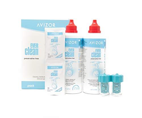 AVIZOR EVER CLEAN Kontaktlinsenflüssigkeit 2 x 350 ml. Lösung zur Reinigung und Desinfektion von Kontaktlinsen aller Art.