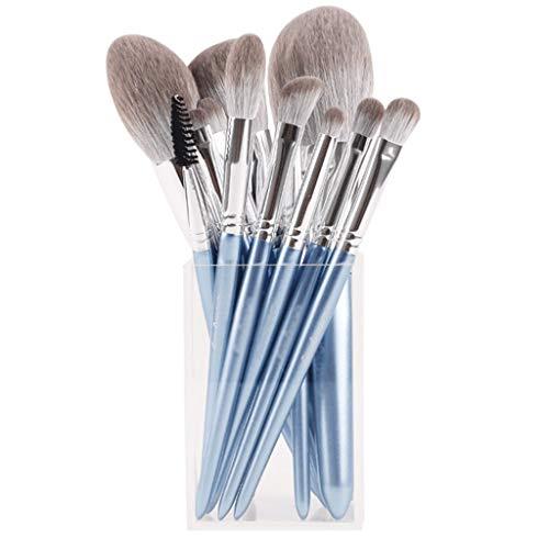 Makeup Brush Sets - 12 Pcs Makeup Brushes for Foundation Eyeshadow Eyebrow Eyeliner Blush Powder Concealer Contour (Color : Blue)