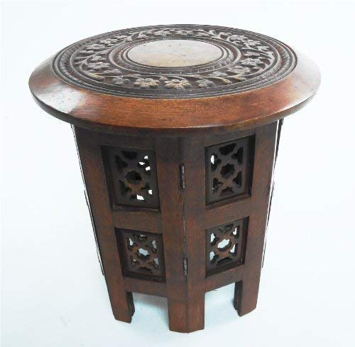 topfurnishing Beautiful Round Mahogany Red Hand Carved Indian Shesham Wooden Coffee Table Side[Maghony,Small 12'x12'x12']