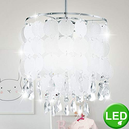 Pendel Kronleuchter Kristalle Chrom Perlmutt Lampe im Set inklusive LED-Leuchtmittel