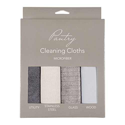 KAF Home Pantry Multipurpose Microfiber Textured Cleaning Cloth 4-Pack, 15 x 18-Inch, (1 Utility Cloth, 1 Stainless Steel Cloth, 1 Glass Cloth, 1 Wood Cloth)