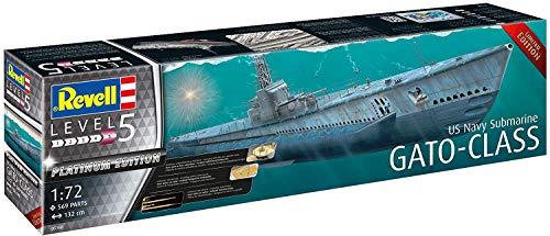 Revell 5168 Platinum Edition U-Boot US Navy Gato Class Submarine, Schiffsmodellbausatz 1:72, 1,32 m Zubehör, Unlackiert