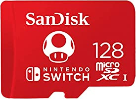 SanDisk 128GB microSDXC UHS-I-Memory-Card for Nintendo-Switch - SDSQXAO-128G-GNCZN, Red