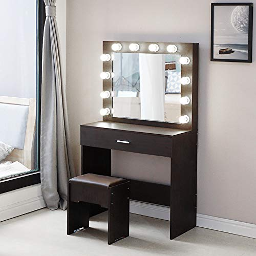 Vanity Set with Lighted Mirror, Wood Makeup Dressing Table with 12 LED Bulbs, Vanity Table Dresser Desk Vanity Benches Set for Bedroom, Shipping from USA (Walnut)