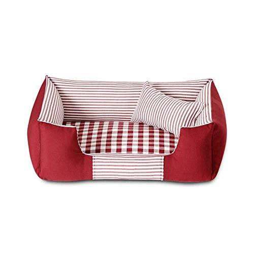 CWYP Haustierbett Katzenbett Hundebett, rechteckiges gestreiftes Haustierbett, herausnehmbar, pflegeleicht, superweiches warmes Hundebett mit Kissen, 3 Farben
