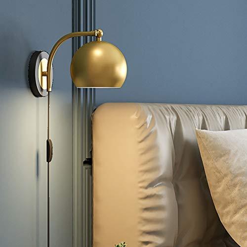 Lámpara de pared bola vintage con enchufe de interruptor Aplique de cabecera para dormitorio E27 Lámparas de lectura de pared para sala de estar, Pantalla de lámpara de metal redonda ajustable a 90 °