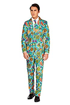 Suitmeister Funny Suits for Men - 90 s Icons Print - Comes with Jacket Pants & Tie - M