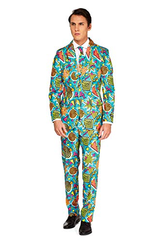 Suitmeister Herren Men Suit Business-Anzug Hosen-Set,Retro Blau 90's Icons,L