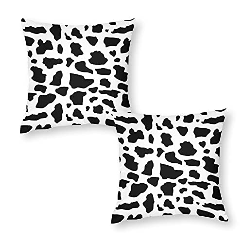 Soft Cushion Cover Throw Pillow Case Decorative Cow (small Print) Square Sofa Pillowcase for Home Xmas Decor Favor 18 x 18 inch / 45 x 45 cm with Invisible Zipper Set of 2