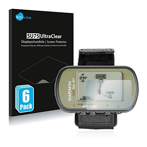 Savvies 6X Schutzfolie kompatibel mit Garmin Foretrex 401 Displayschutz-Folie Ultra-transparent