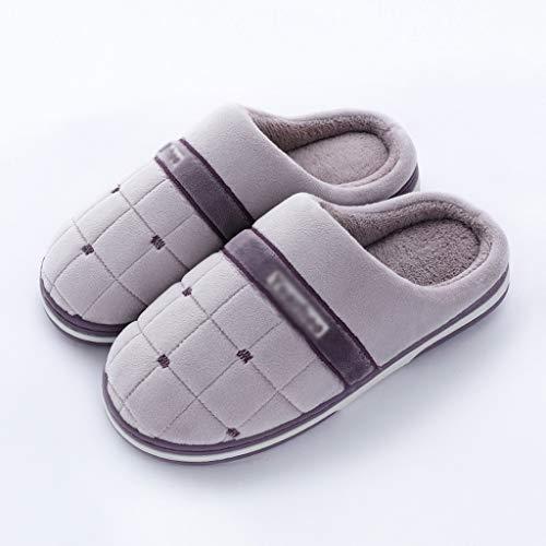 GFDFD Amantes Zapatillas de Interior Cálidas Peluches Mujeres algodón Deslizamiento Antideslizante Suave otoño Invierno Zapatos Mujer Hombres Home toboganes (Color : Purple 40-41)
