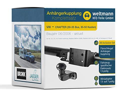 Weltmann 7D500452 - Juego completo de bola de brida de 2 agujeros para remolque + juego eléctrico de 13 polos AHK, para Volkswagen Crafter 30-35 Bus, 30-50 cajas