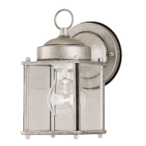 Westinghouse Lighting 6468400 One-Light Exterior Wall Lantern, Antique Silver Finish on Steel with Clear Glass Panels