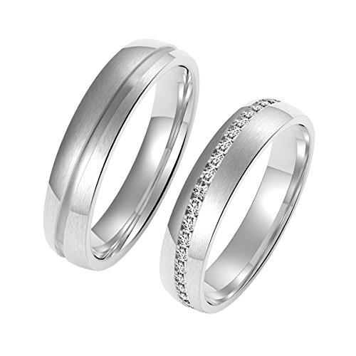 Amtier Paar-Ring Edelstahl-Ringe für Paar Eheringe Herrenring Damenringe 5mm mit Geschenkbox, Damen 072, 48 (15.3)