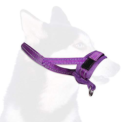 SlowTon Bozal para Perros, Lazo Ajustable, Acolchado Suave de Franela, bozales cómodos, Transpirables y Seguros de Ajuste rápido para Perros pequeños Masticar y ladrar (M, Morado)