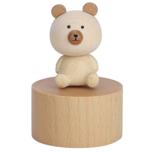 chengong Exquisite Wooden 2.5x3.7in Music Box, Music Box Decoration, for Children Kids(Bear)