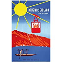 zkpzk スイススイステッシン観光ポスターブルジーノ-セルピアーノクラシックウォールアート写真ヴィンテージアートワークポスターホームバーの装飾ギフト-50X70Cmx1フレームなし