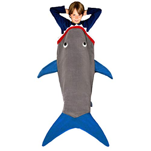 Blankie Tails | Shark Blanket, New Shark Tail Double Sided Super Soft and Cozy Minky Fleece Blanket, Machine Washable Wearable Blanket (56'' H x 27'' (Kids Ages 5-12), Glow in The Dark - Gray & Blue)