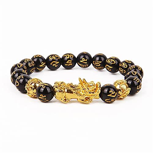 ACEACE Obsidian Stone Beads Bracelet Unisex Wristband Gold Black Bracelet (Metal Color : Brownish Yellow)