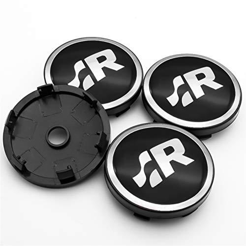 Without Logotipo de SR for VW- VW-Volkswagen- Golf-Jetta- Polo- 4PCS 56mm y 60 mm Emblem Wheel Center Center Caps Badge Cubre Accesorios for automóviles (Color : H1)