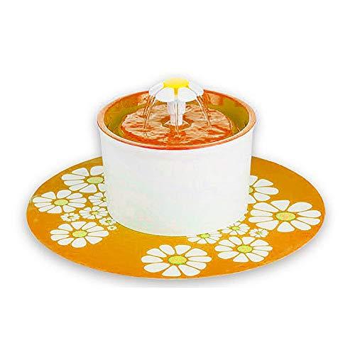 JialongDianzi 【Huisdier water drinken fontein vers water fontein drinken filter kom - automatische bloem filter ontwerp ontworpen voor honden en katten, 19cm*19cm*16cm, ORANJE