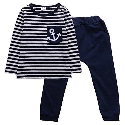 Conjunto de Camiseta y pantalón con Estampado de Ancla a Rayas, Manga Larga, Estilo Marinero, para niños